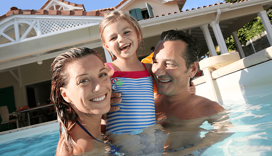 Healthy Family Swimming