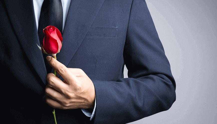 Bachelor Holding Rose