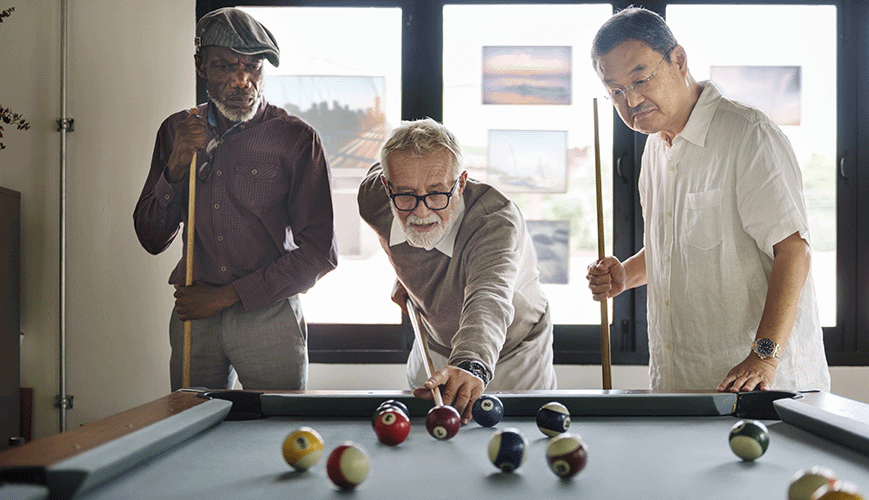 Older Friends Playing Billiard