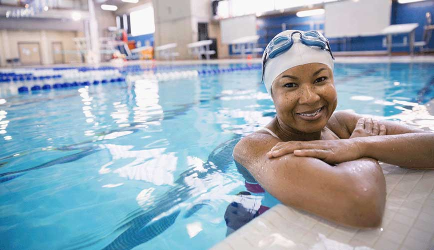 African American Woman in Swimming Pool
