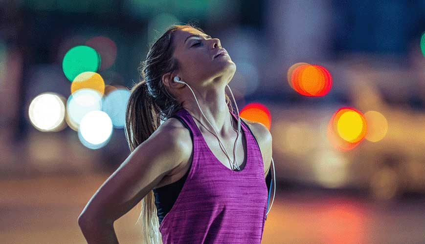 Woman Runner Taking Deep Breath