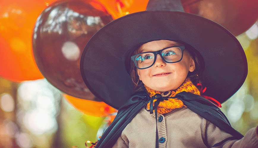 Young Girl in Witch Costume for Halloween